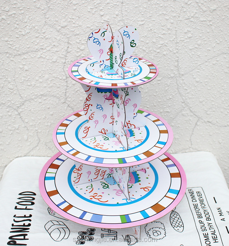 Birthday Cake Stand Cardboard Paper Mini Cupcake 3 Tier Cinderella