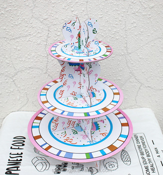 Birthday Cake Stand Cardboard Paper Mini Cupcake 3 Tier Cinderella ...