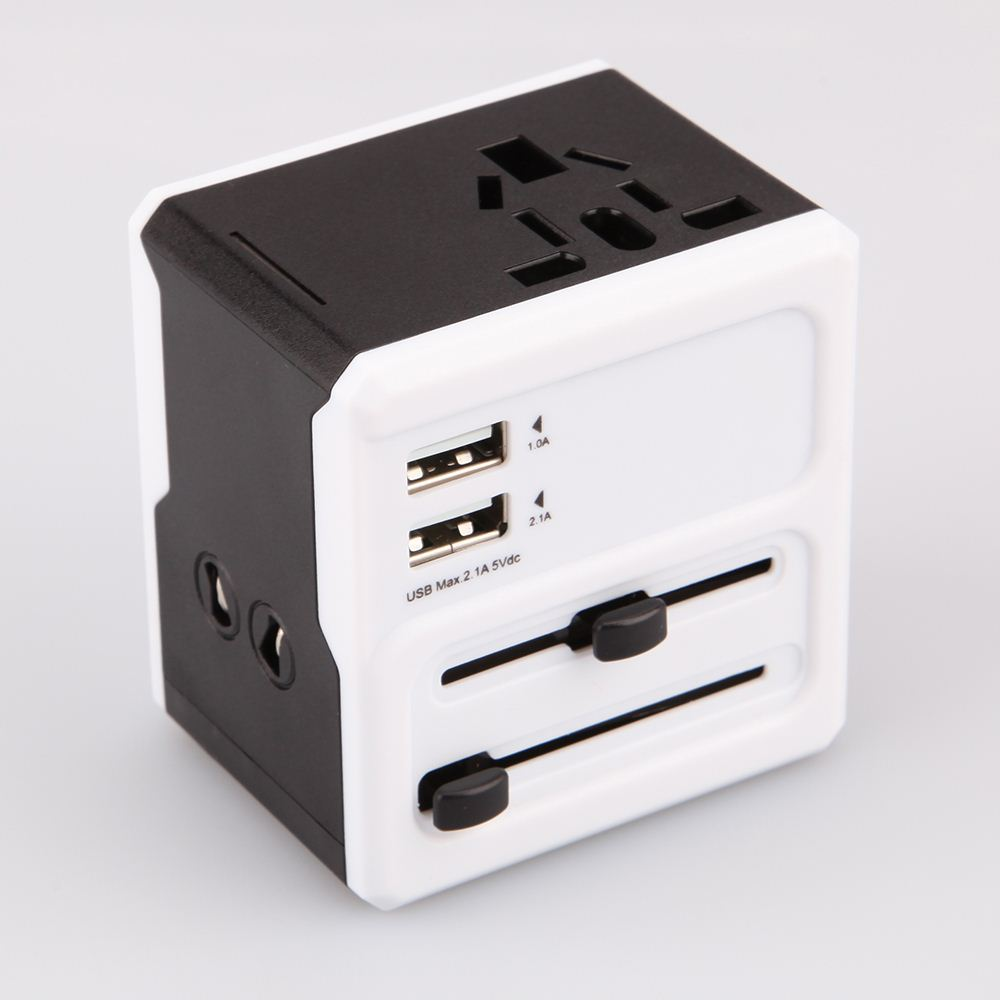 Black Universal International Plug Adapter All in One 2 USB Port World Travel AC Power Charger Adaptor with AU US UK EU Plug
