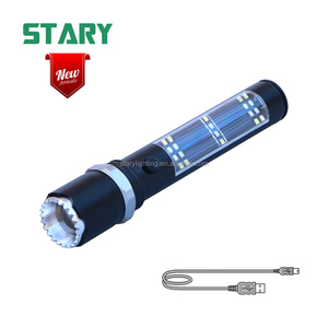 New arrival solar energy torch light tactical powerbank flashlight with cob white light and red warning light