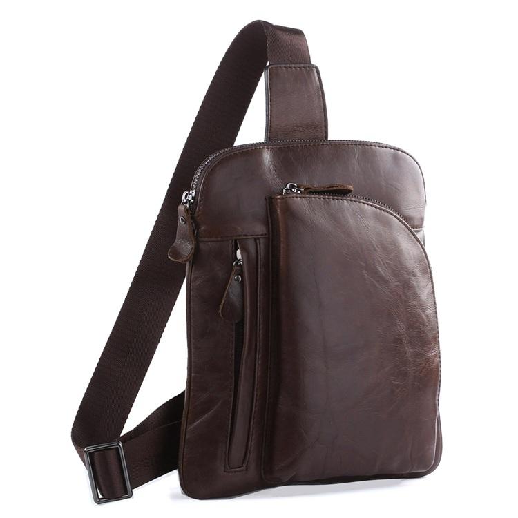 e709787cca0a Get Quotations · Vintage First Layer Men genuine leather waist pack chest  bag multifunctional shoulder bag mobile phone bag