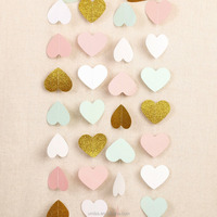 Hanging Pink, White and Gold Glitter Paper Heart Garland, Valentine Decorations