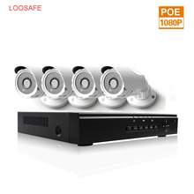 LOOSAFE 4CH POE NVR Kit 48V Power cctv camera system Onvif P2P 1080P HD H.264 IP Camera POE security camera system outdoor