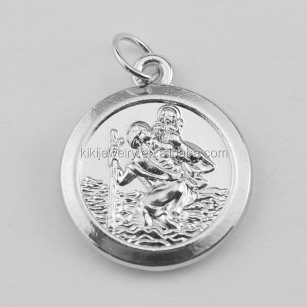 Free Shipping <strong>Silver</strong> And Gold Round St.Christopher Patron Saint of Travelers Religious Charms