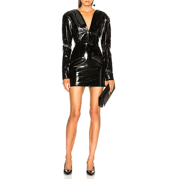 Girls Party Leather Dress Halter Black Mini Women Club Sexy Leather Dress