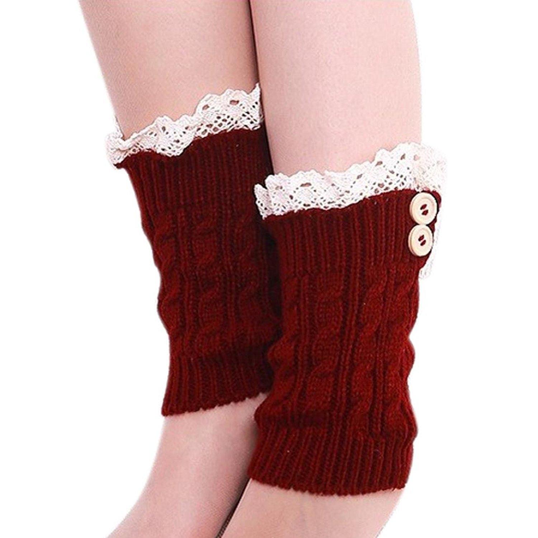 DaySeventh Womens Lace Stretch Boot Leg Cuffs Topper Cuff Leg Warmers Socks
