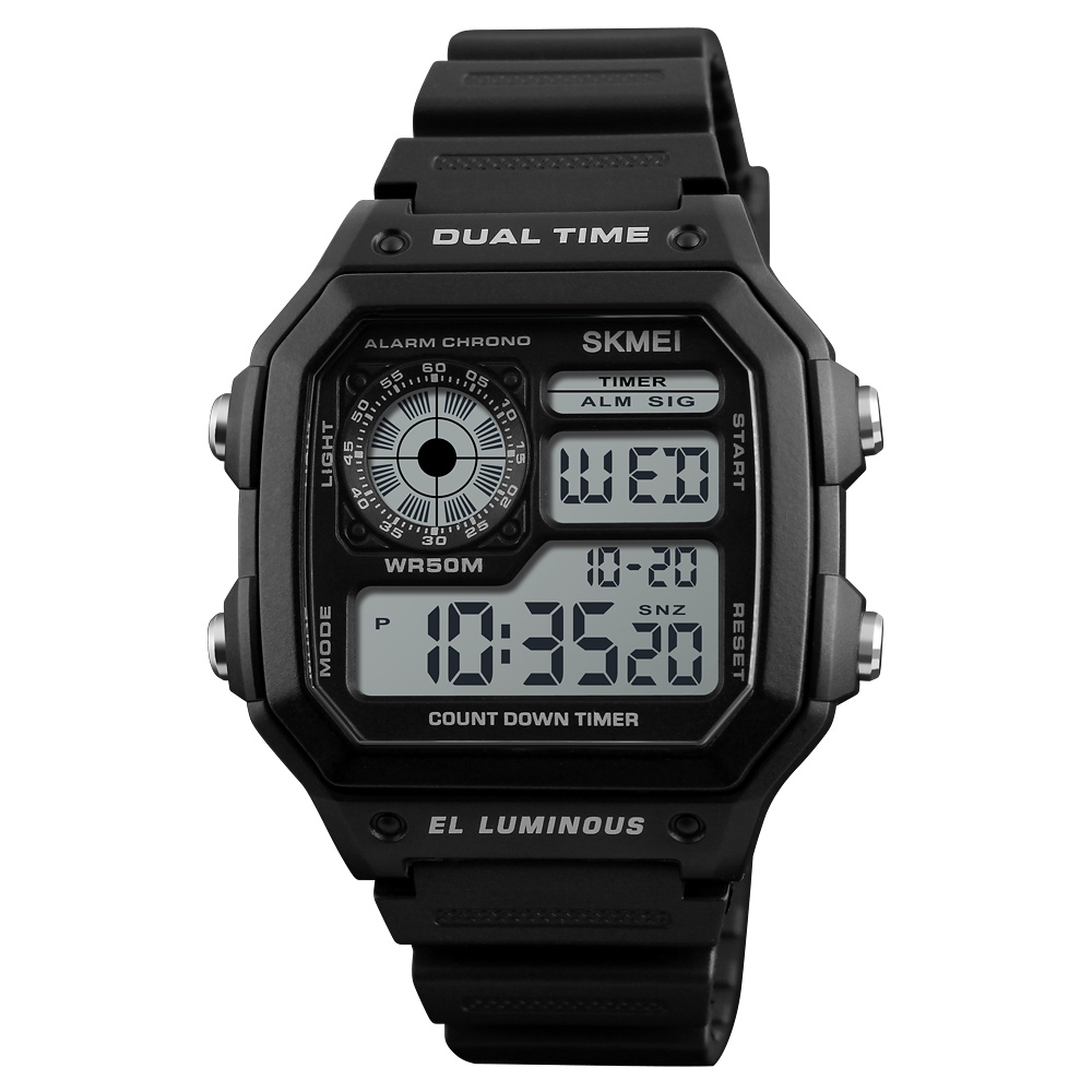 Top 10 hot selling cheap digital watch Skmei wrist watches men ABS case material Imported LED relojes hombre 1299, 4 colors