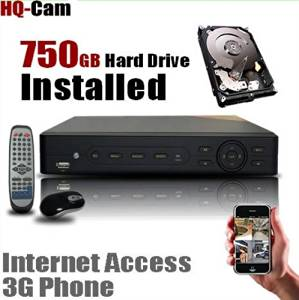 HQ-Cam 8 CH Channel CCTV Security Camera Network DVR System with 750GB Hard Drive Pre-installed - Real Time 3G Mobile