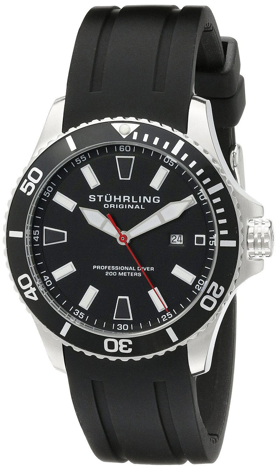6a366ab3f09 Get Quotations · Stuhrling Original Aquadiver Regatta Mens Black Watch -  Quartz Analog Swim Sports Watch - Black Dial