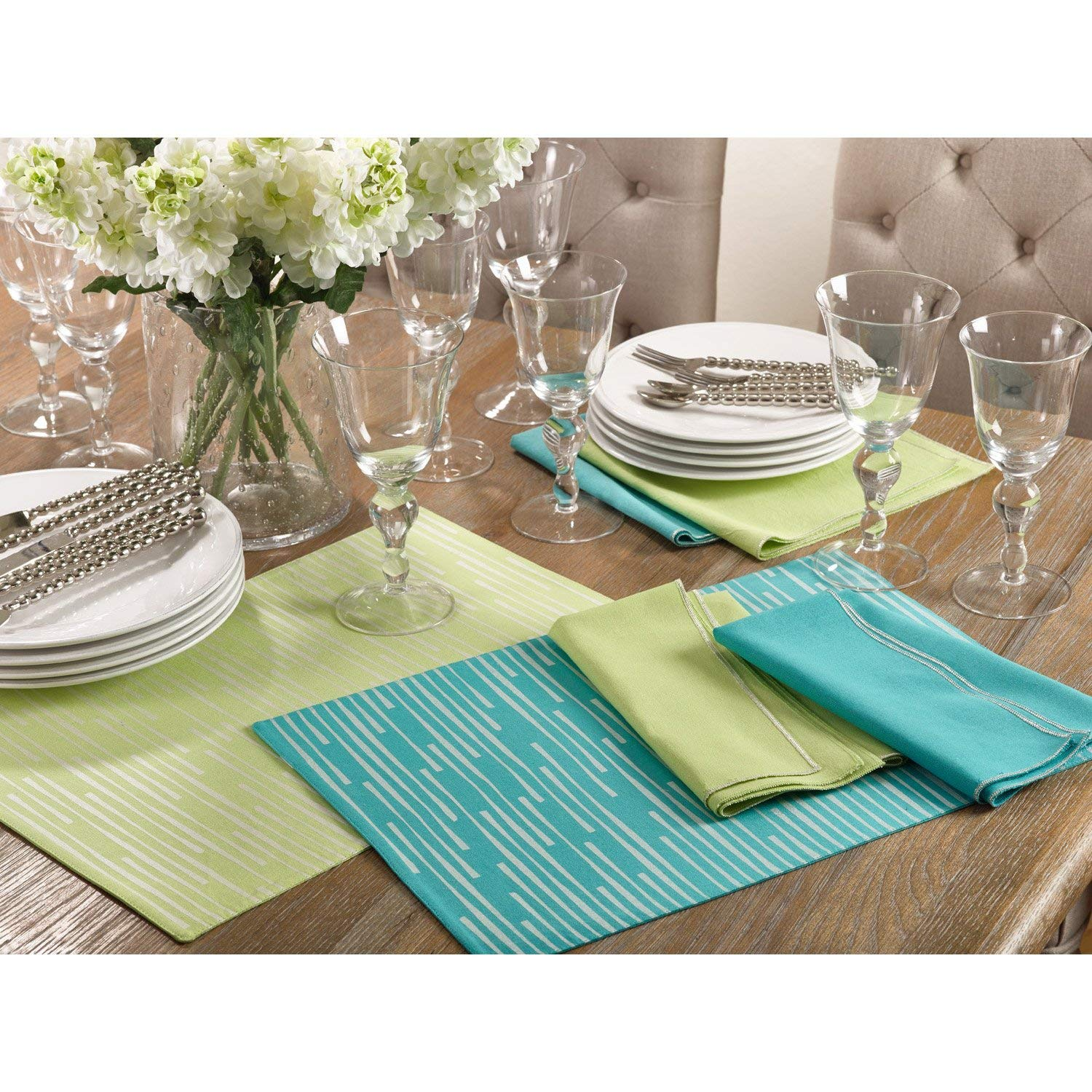 "Occasion Gallery Pistachio Color Printed Line Design Dining Placemat, 13""x19"" Rectangular (4 Piece)."