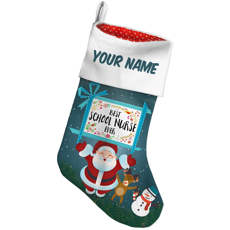 Buy Christmas Stocking Happy Floral Border School Nurse Xmas night ...