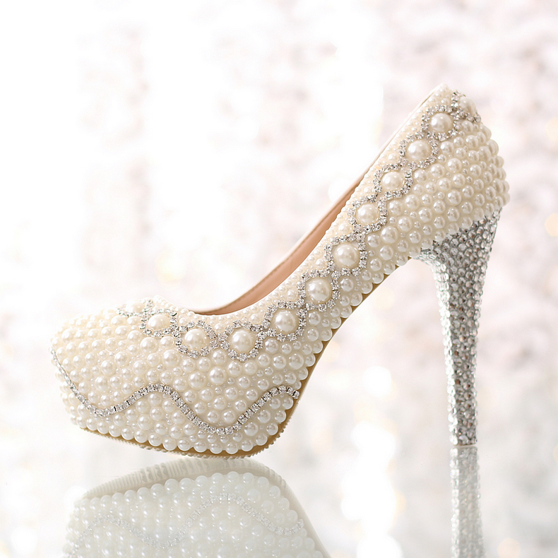 Get Quotations · crystal wedding shoes high-heeled waterproof Taiwan  comfortable dress shoes white pearl beautiful princess wedding c769438d42bb