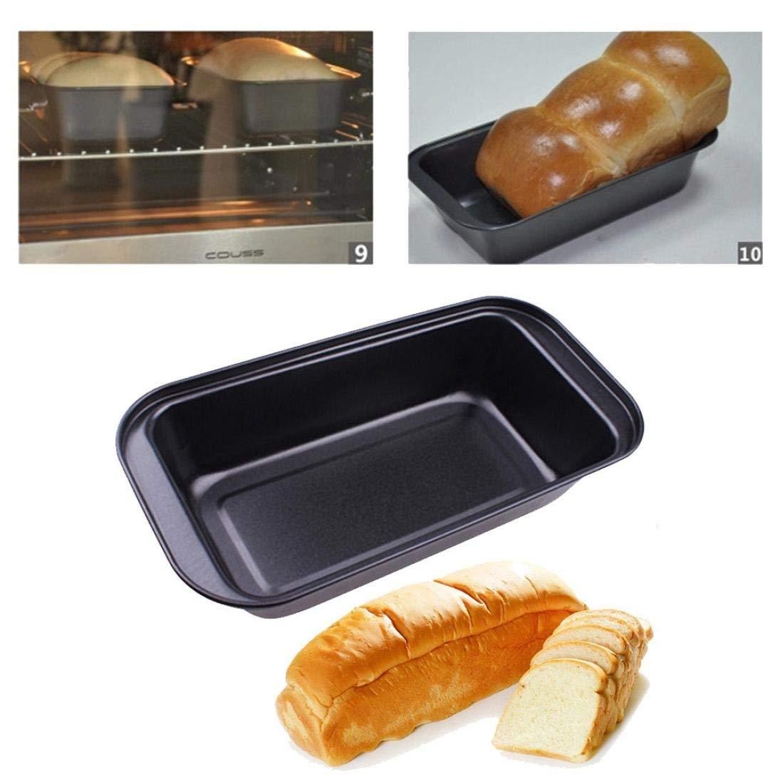 Remiel Store No-Stick Black Carbon Steel Cake Toast Bread Mold Bakeware Pan Kitchen Tool (25x13x6.4cm, black)