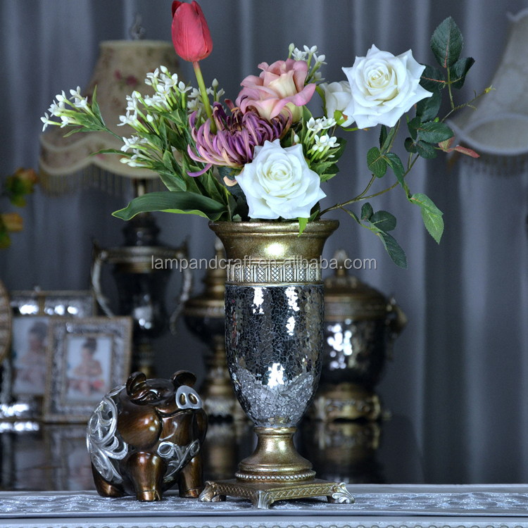Wholesale Brazil Antique Art Folk Resin Luxury Vase With Bronze Mosaic Stand Showroom Home Decorative Folk Art