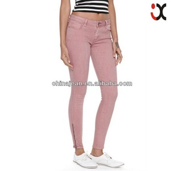 2015 Skinny Colored Jeans For Women Euro Style Rose Women Zipper ...