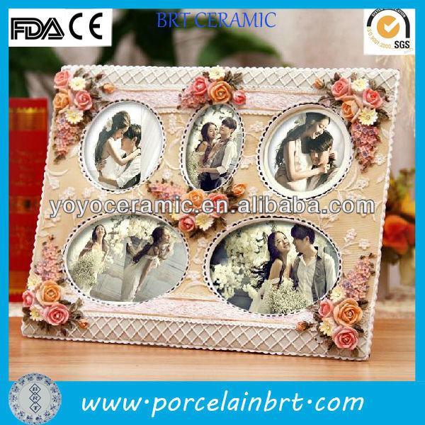 flower quintuple pink rectangle resin multi picture frame