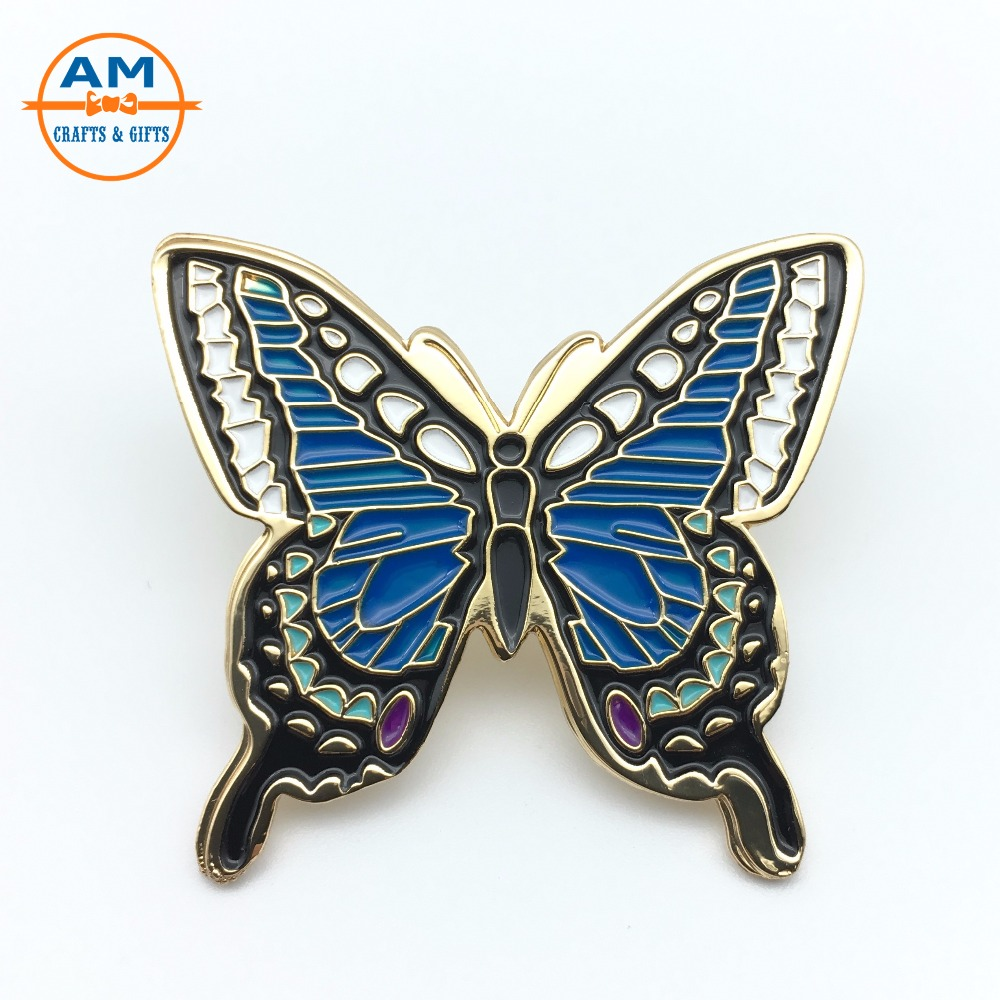 Colorful Butterfly Design Enamel Lapel Pins, Gold Plating Butterfly Lapel Pin Badge with Rubber Clutch