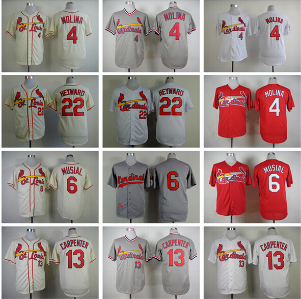 St.Louis St Louis Cardinals Yadier Molina Jersey 4 Baseball Shirt 6 Stan Musial 13 Matt Carpenter 22 Jason Heyward Blue Grey