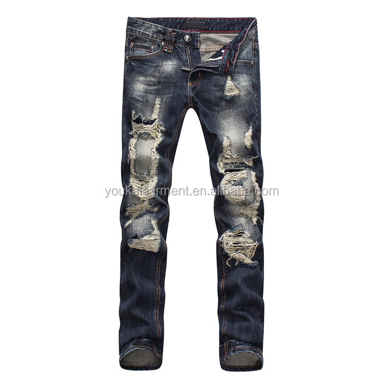 clothing men jeans men ripped big holes scratch denim skinny jeans