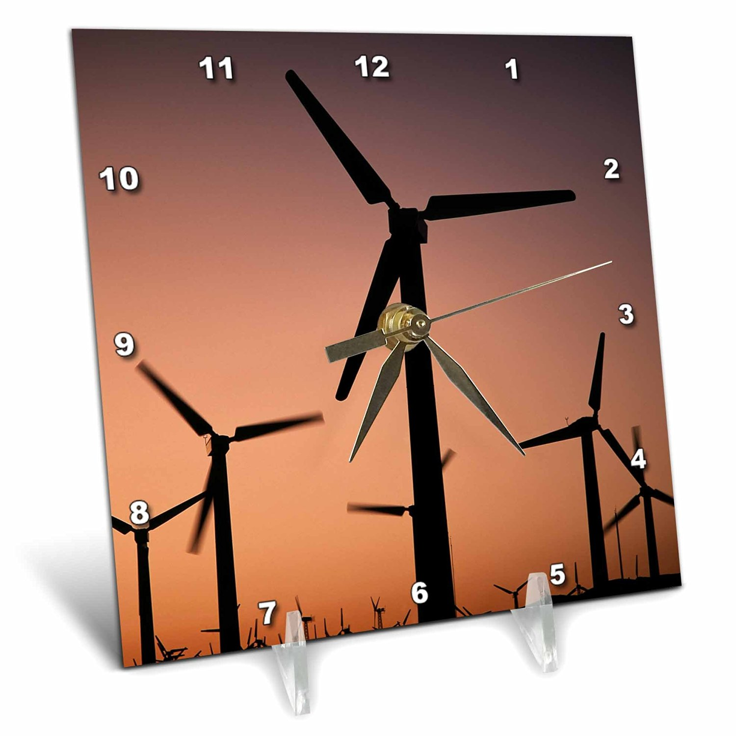Danita Delimont - Energy - USA, California, Palm Springs, wind turbines at sunset - 6x6 Desk Clock (dc_230344_1)