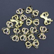 10 Pcs Glitter Black Gold Bow 3D AB Color Rhinestones For Nail Art Decorations On Gel