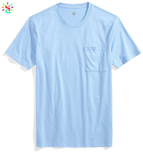 Wholesale mens t shirts 1 euro t shirt with pocket 100 cotton smooth crewneck tee custom