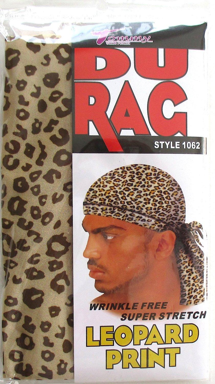 9932d42e4432 Get Quotations · Tommy Stretch Spandex Leopard Print Du Rag Doo Rag Skull  Cap Afro Black People Hair 1062