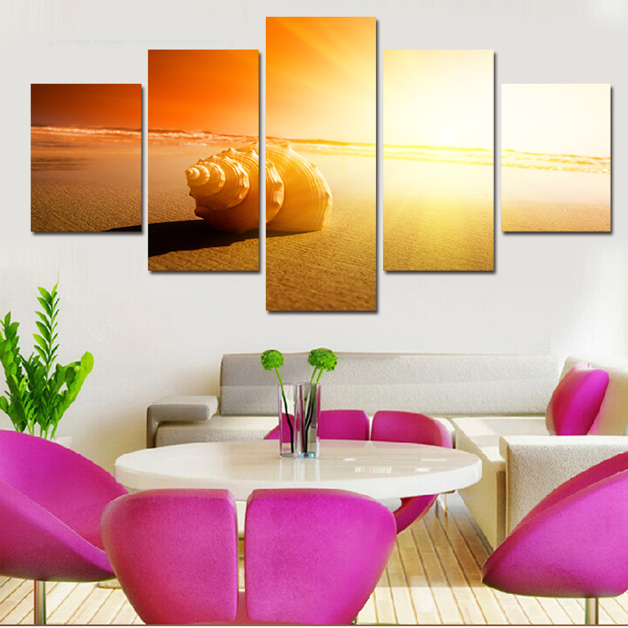 Free Shipping 5 Piece Wall Art Painting Canvas Painting  Modern Painting On The Beach Conch Painting Modern Picture Home Decor