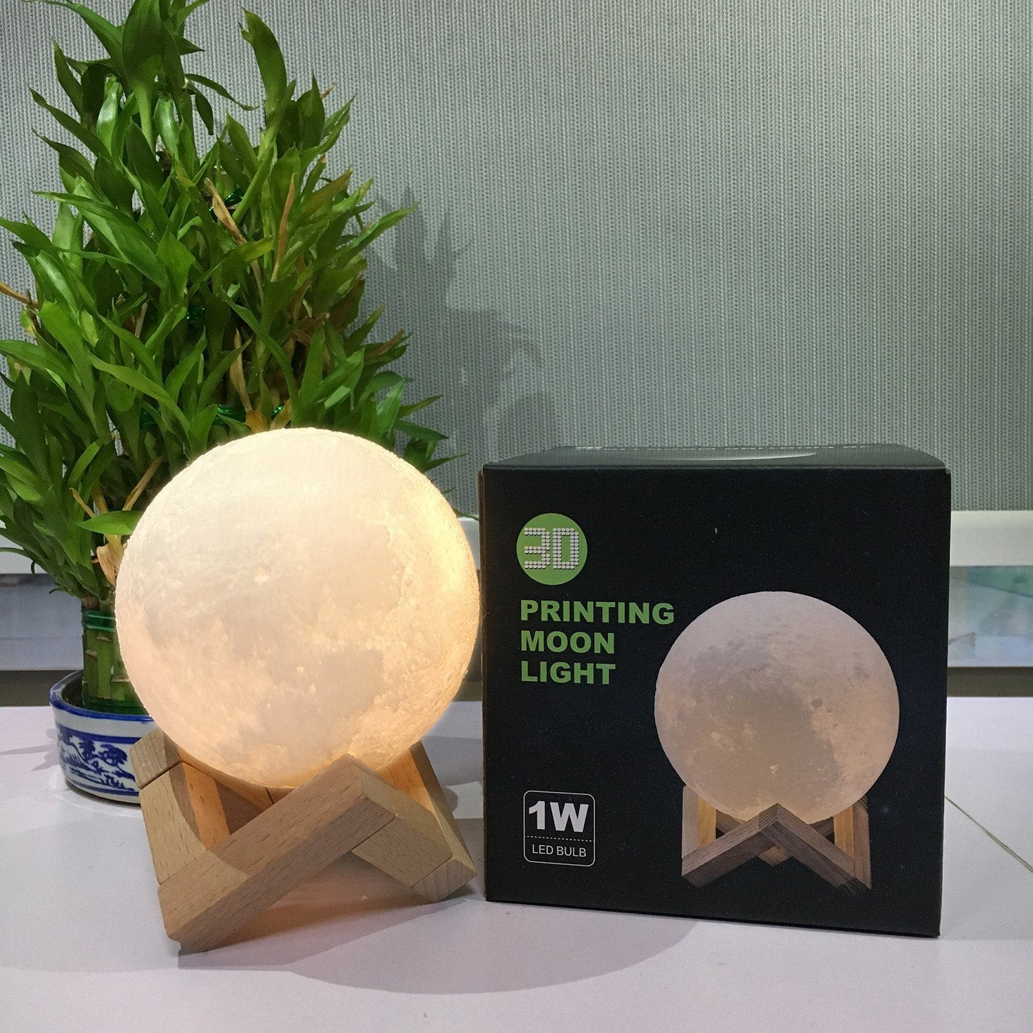 CPLA Lighting Night Light LED 3D Printing Moon Lamp, Warm and Cool White Dimmable Touch Control Brightness 3000K/6000K with USB