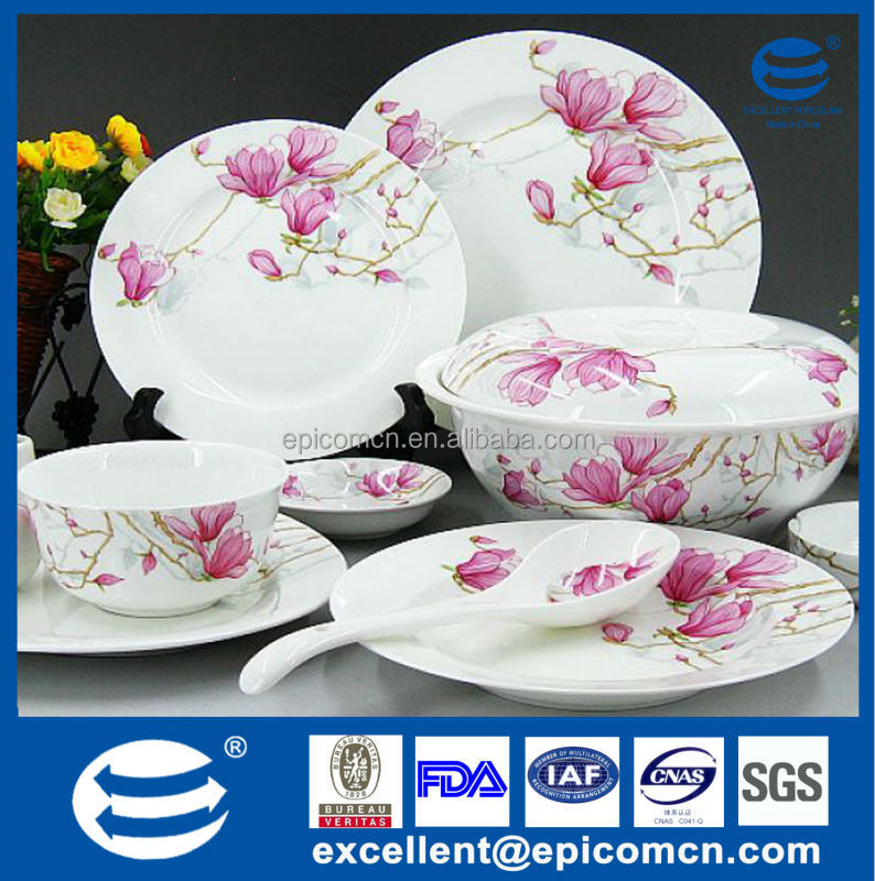 pink flower blossom on new bone china dinnerware service table  sc 1 st  Alibaba & Pink Flower Blossom On New Bone China Dinnerware Service Table - Buy ...