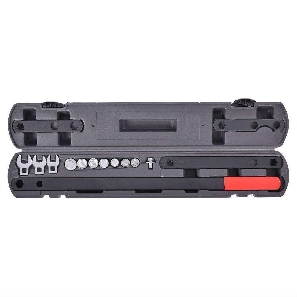 16PC Ratcheting Wrench Serpentine Belt Tool Kit Automotive Repair Set Sockets