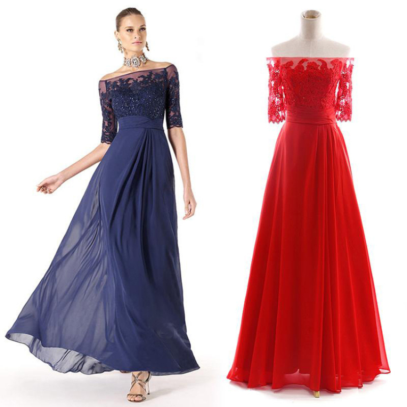 Elegant Long Prom Dresses Boat Neck Off Shoulder Half Sleeve Beaded Lace Chiffon Prom Dress Vestidos Para Festa WA068