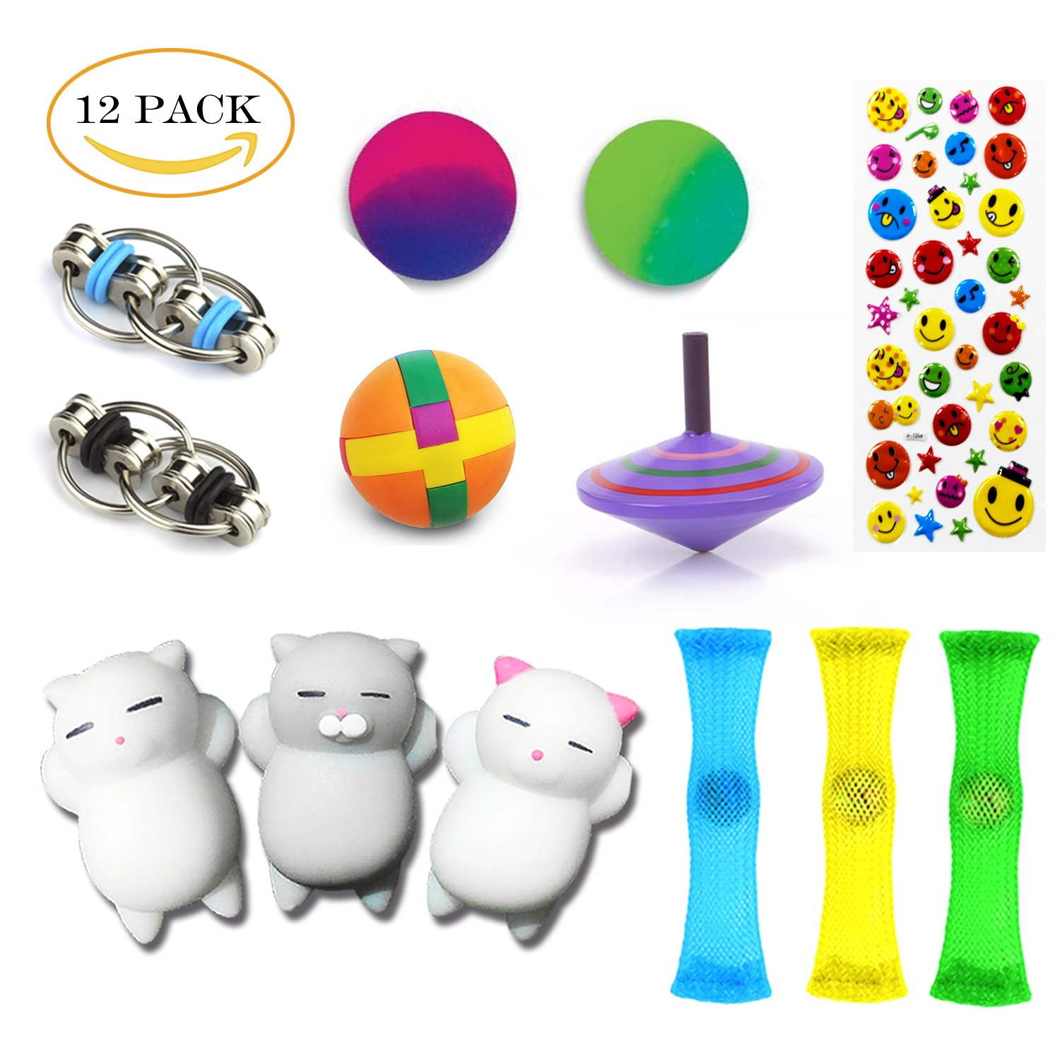 12 Pack Sensory Toys Set, Relieves Stress and Anxiety Fidget Toy for Children Adults, Special Toys Assortment for Birthday Party Favors, Classroom Rewards Prizes, Carnival, Piñata Goodie Bag Fillers