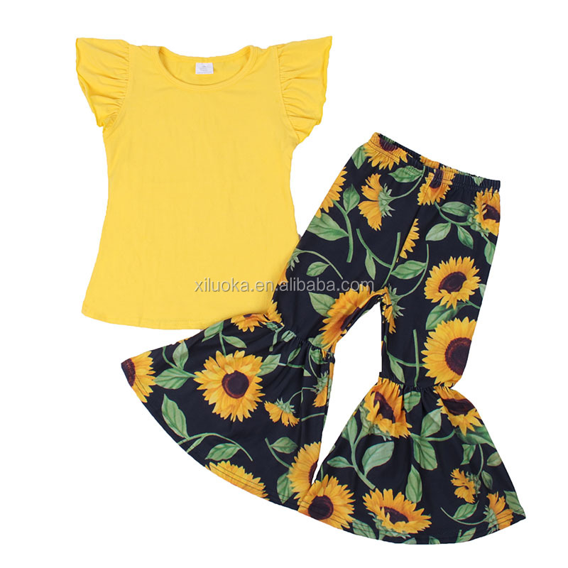 Alibaba.com / 2019 Fashion Floral Girls Clothing Sets Boutique Kids Apparel Ruffle Baby Clothes