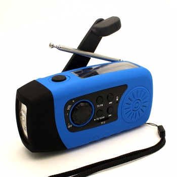portable solar crank fm radio with tf card music player and 1 W LED bright torch