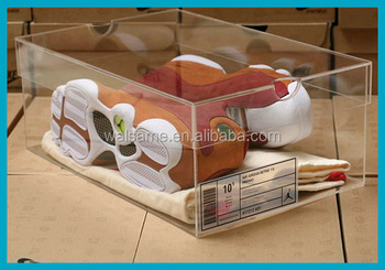 Clear Acrylic Nike Sneakers Display Case Nike Shoes Men Display Rack Custom Shoe  Box With Logo