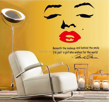 Marilyn Monroe cara roja LIP inspirational <span class=keywords><strong>cotizaciones</strong></span> pegatinas de pared salón dormitorio TV Fondo pared
