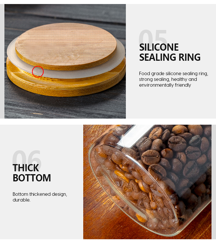 175ml Wholesale custom printed borosilicate glass bamboo lid spice jars