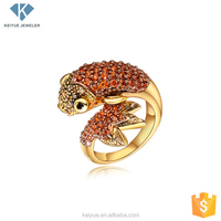 Latest gold fish ring girls designs,cute cz pave animal ring for daily wear