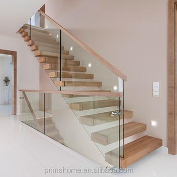 Interior Single Stringer Straight Steel Wood Tread Stair/open Riser  Staircase