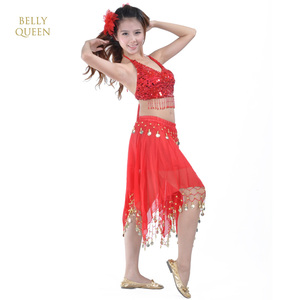 red bellydance clothing ,belly dancing outfits,costume belly dance ,BellyQueen