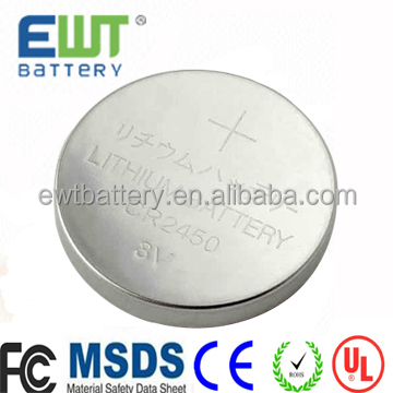 500-1200mAh CR 2450 type of button cell battery used for portable devices and water meter