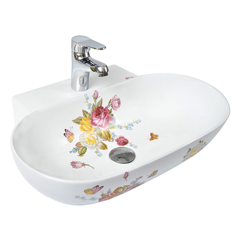 Eco-friendly Exquisite Flower Pattern Ceramic Bathroom Sink Decals on eco friendly bathroom countertops, kohler glass sink, commercial wall mount lavatory sink,