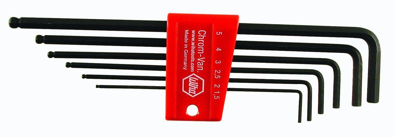 WIHA 36900 Ball End Hex L-Key Mid Length Inch and Metric Set with 2 Holders 1.5-10mm.050-3//8-Inch 22-Piece