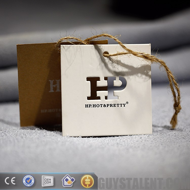 custom printed private punching die letter thick paper hang tag for garment