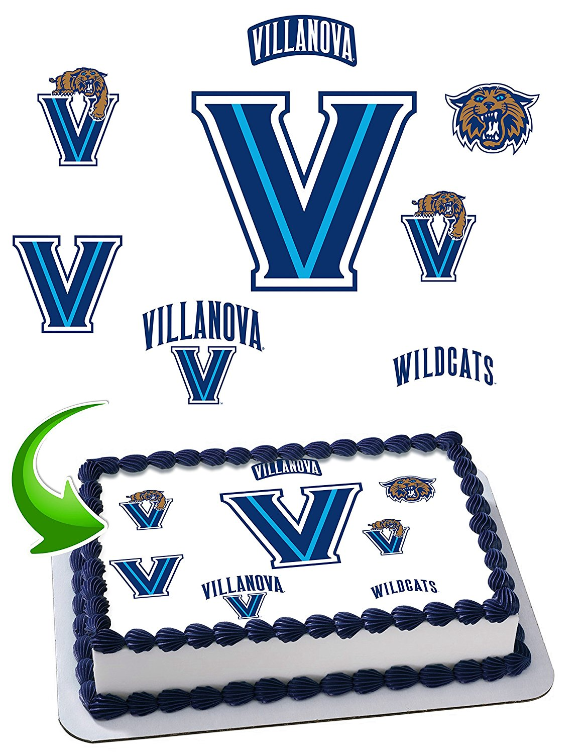 Villanova Wildcats Edible Image Cake Topper Icing Sugar Paper A4 Sheet Edible Frosting Photo Cake 1/4 ~ Best Edible Image for cake
