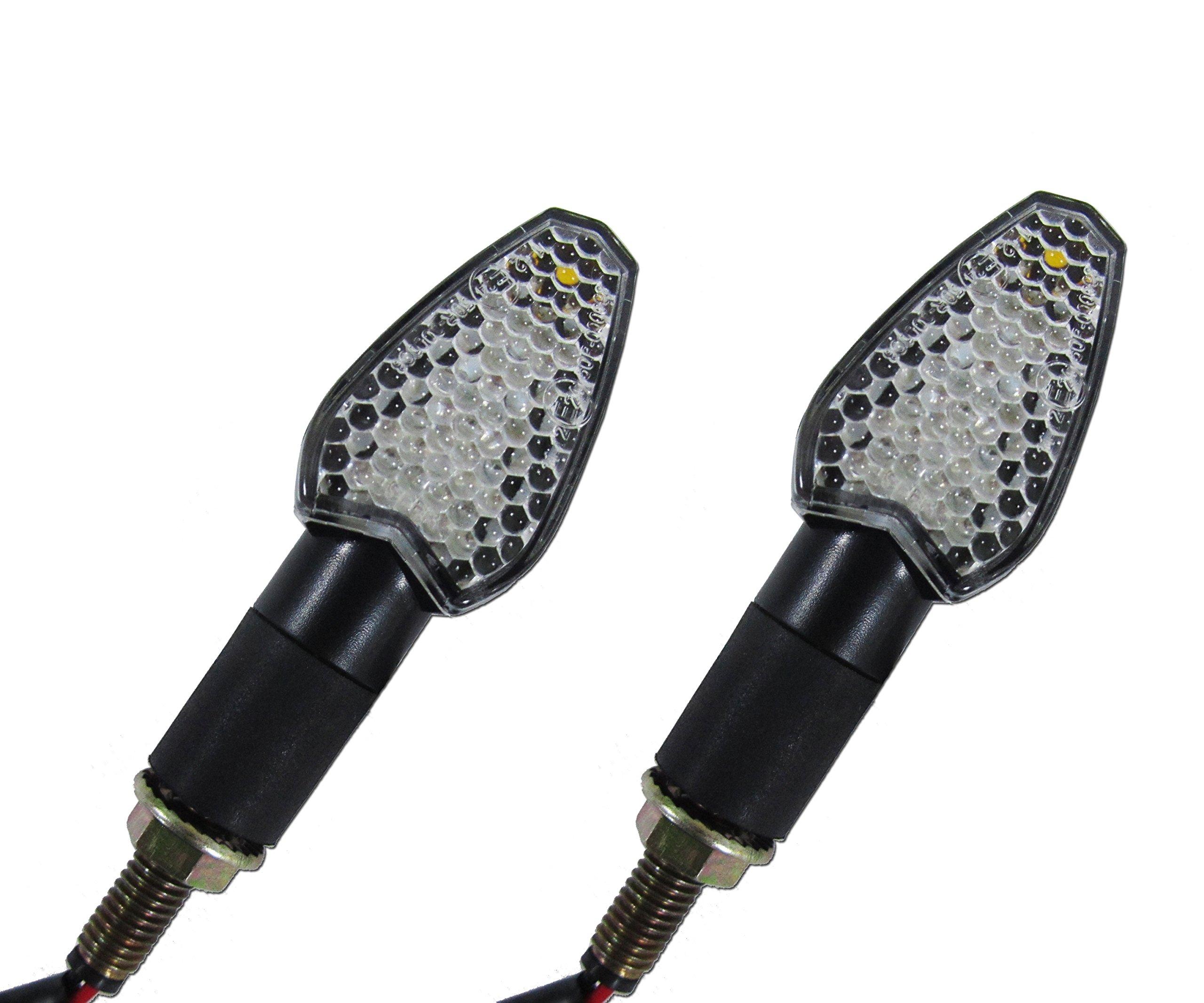 LED Mini Black Arrow Motorcycle Turn Signal Indicator Directional Lights Front/Rear Pair (2 Blinkers) for Aprilia, Buell, BMW, Harley, Honda, Kawasaki, KTM, Moto Guzzi, Suzuki, Triumph, Yamaha