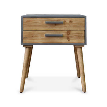Pastoral LOFT Wooden Bedside Table with 2 Drawers