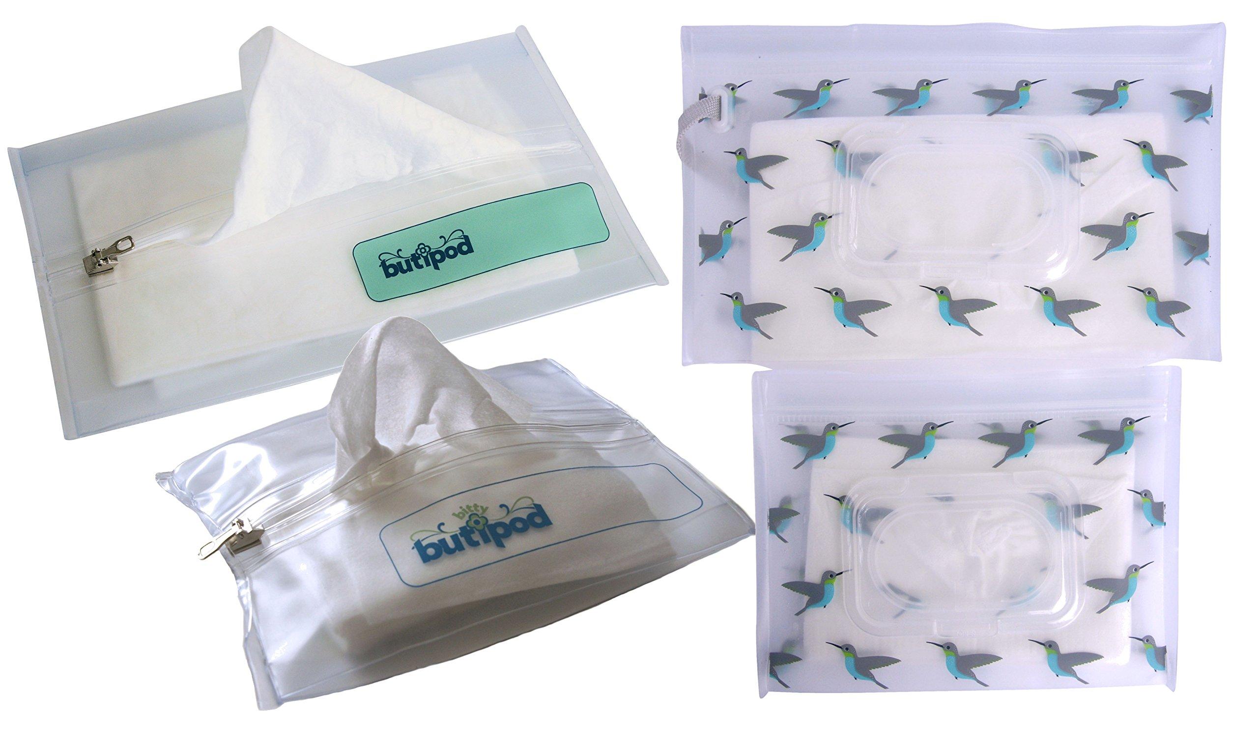 Buti-pods Wipes Case Ultimate Diaper Bag Sampler Pack (4 pack, zip/flip clear/hummingbird)