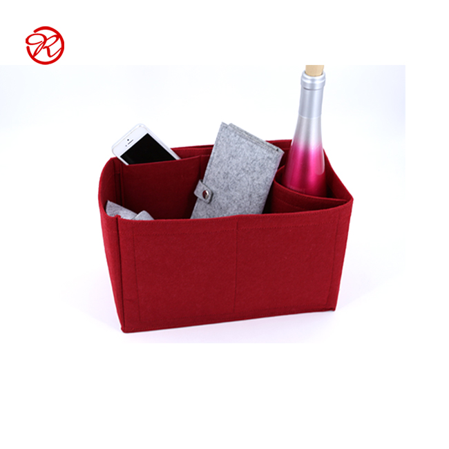 Wear-resistant Wine Red Felt Handbag Organizer Insert With Beautiful Design